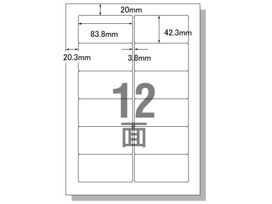 エーワン/PC&ワープロラベルOASYSタイプ A4 12面 500枚/28723