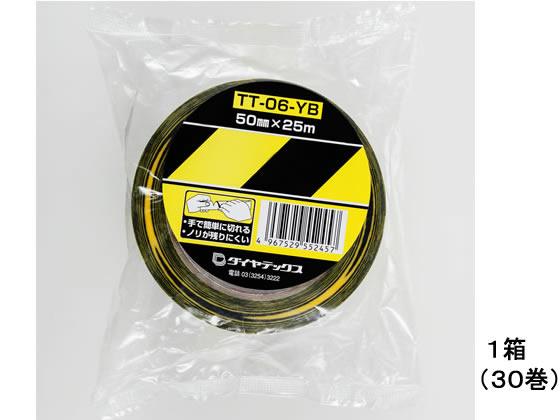 ダイヤテックス/表示テープ ストライプ柄 50mm×25m 30巻/TT-06-YB
