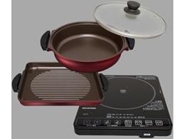 アイリスオーヤマ/ガラストップIHクッキングヒーター&焼き肉プレート&鍋セット