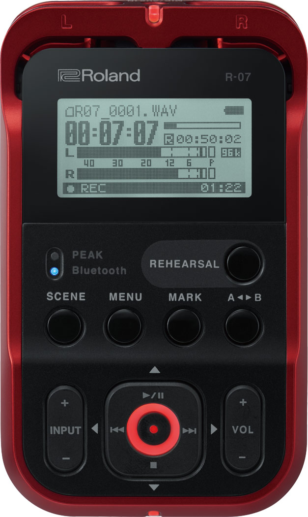ROLAND R-07 RED ローランド ハンディレコーダーオーディオインターフェイス機能付き
