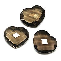 可愛いハートスタイルで豊かに煌く 10x12mm前後 超人気 メーカー直売 スモーキークォーツのリーズナブル ルース ストーン 宝石