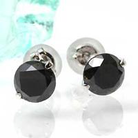【特別価格】ジェミニセッティング・ブラックダイヤモンドピアス