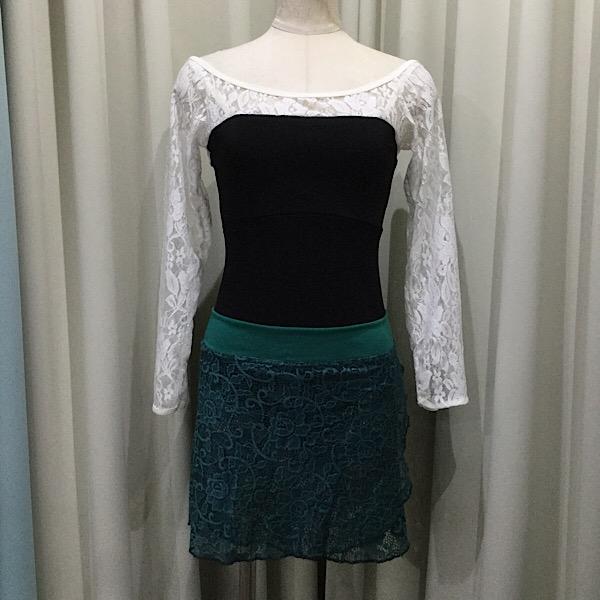 スルッと履くだけの簡単プルオンスカートです 祝開店大放出セール開催中 プルオンスカートAタイプ B24 ブルーグリーン 在庫処分 レース生地Jewelesqueオリジナル