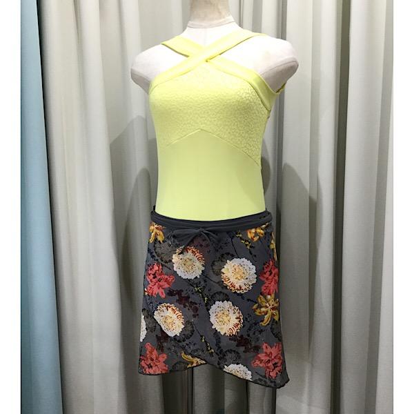 大人っぽい赤色スカート バレエ 毎日激安特売で 営業中です 巻きスカート Jewelesqueオリジナル リボンループ付き グレーボタニカルメッシュ 当店限定販売