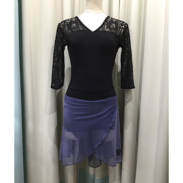 ボクサーショーツに巻きスカートが縫い付けられています ズレを気にせず踊れます バレエ スカート チャコールグレーメッシュxブラックパンツJewelesqueオリジナル 在庫処分 パドドゥスカート お買い得品 Bタイプ