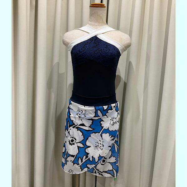 ボクサーショーツに巻きスカートが縫い付けられています ズレを気にせず踊れます バレエ 大特価 スカート パドドゥスカート BタイプBlue ネイビー x Sky Jewelesqueオリジナル Flower ショップ メッシュ