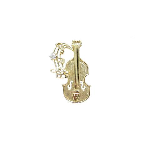 タイニー バイオリン ピンブローチ 18金製