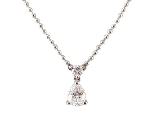 ペアシェイプ ダイヤモンド ペンダント ネックレス プラチナ製