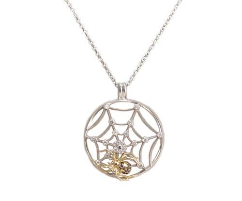 蜘蛛の巣モチーフ ブラックダイヤモンド入り ペンダント ネックレス