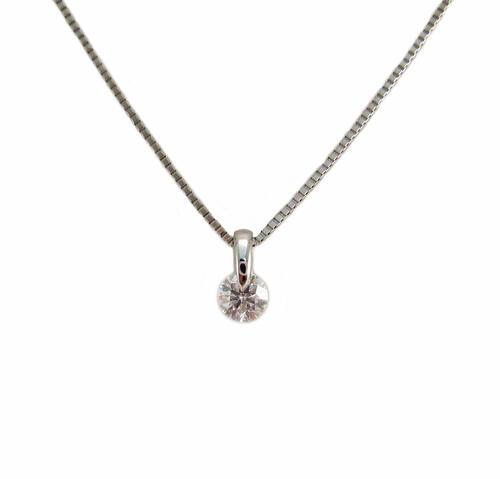 一粒 ダイヤモンド シンプル ペンダント プラチナ製