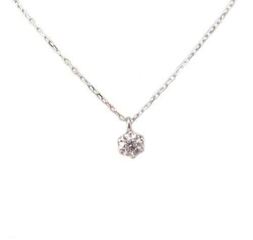 プラチナ 一粒 プチ ダイヤモンド ペンダント ネックレス