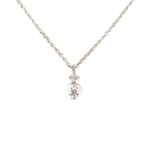 プラチナ ダイヤモンド プチ ペンダント ネックレス