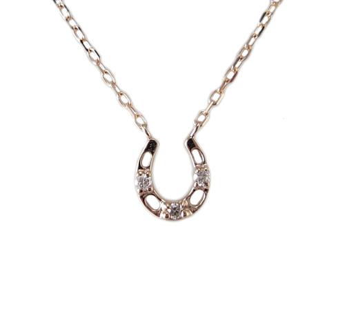 ピンクゴールド 馬蹄モチーフ ダイヤモンド ペンダント ネックレス