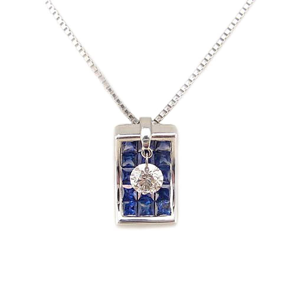 レーザーホール ダイヤモンドが揺れる サファイア ペンダント ネックレス