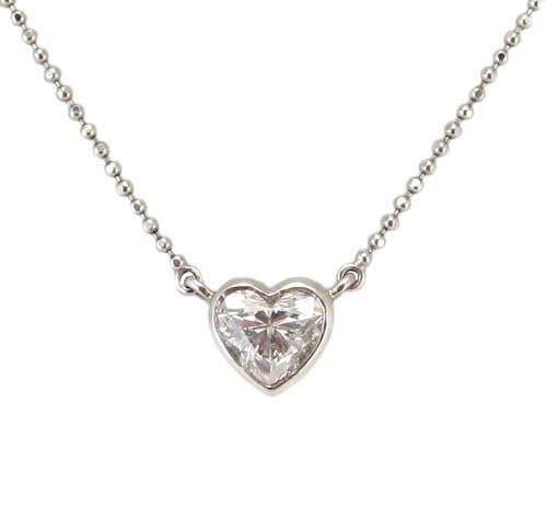 ハートシェイプ ダイヤモンド ペンダント ネックレス プラチナ製
