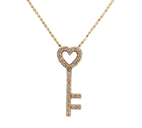 ピンクゴールド オープンハート 鍵モチーフ ダイヤモンド ペンダント ネックレス