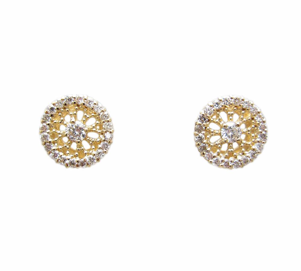 イエローゴールド ダイヤモンド入り 透かし柄 ピアス 丸型
