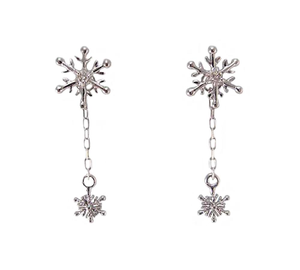 K18WG 雪の結晶 ダイヤモンド ピアス