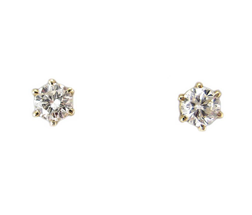 K18 イエローゴールド ダイヤモンド スタッド ピアス 0.6カラット