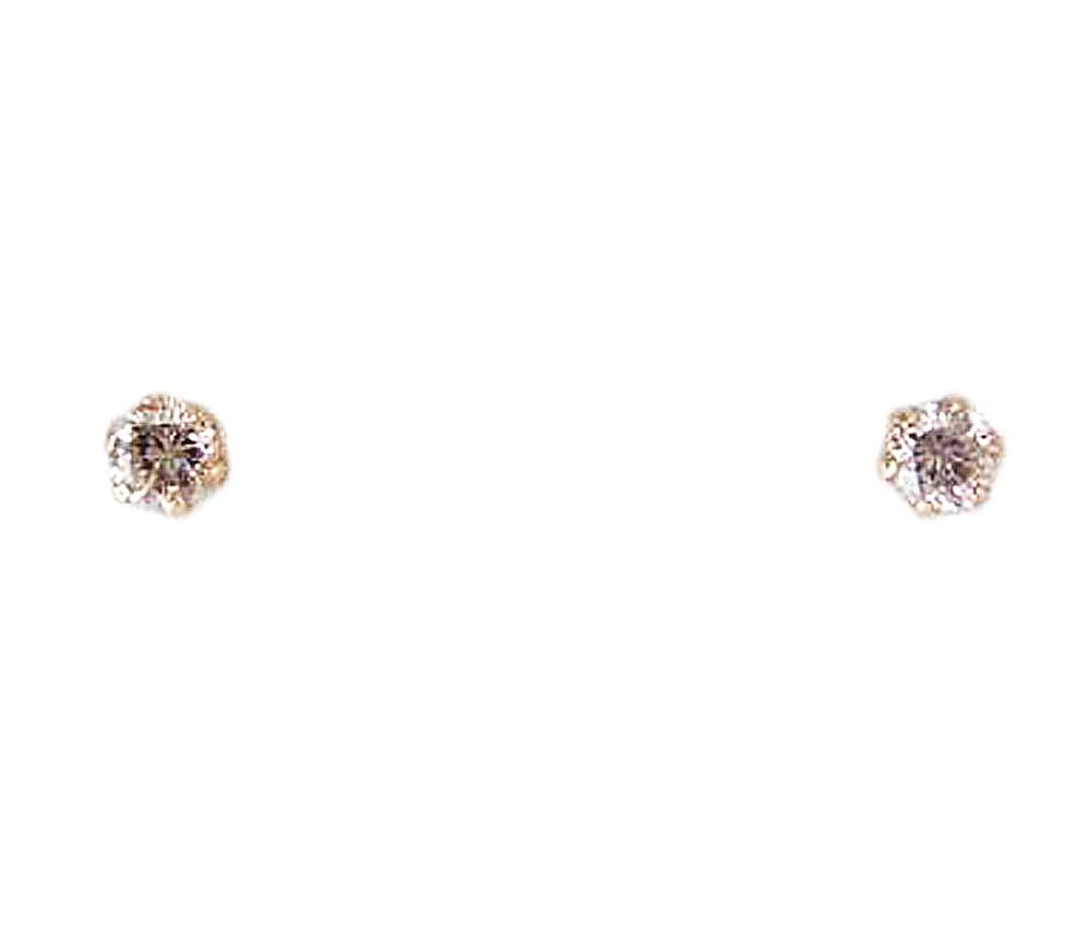 ピンクゴールド ダイヤモンド 可愛らしい 一粒 ピアス