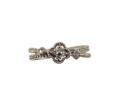 プラチナ ダイヤモンド クローバーモチーフ クローバーモチーフ クローバーモチーフ ピンキー リング c38