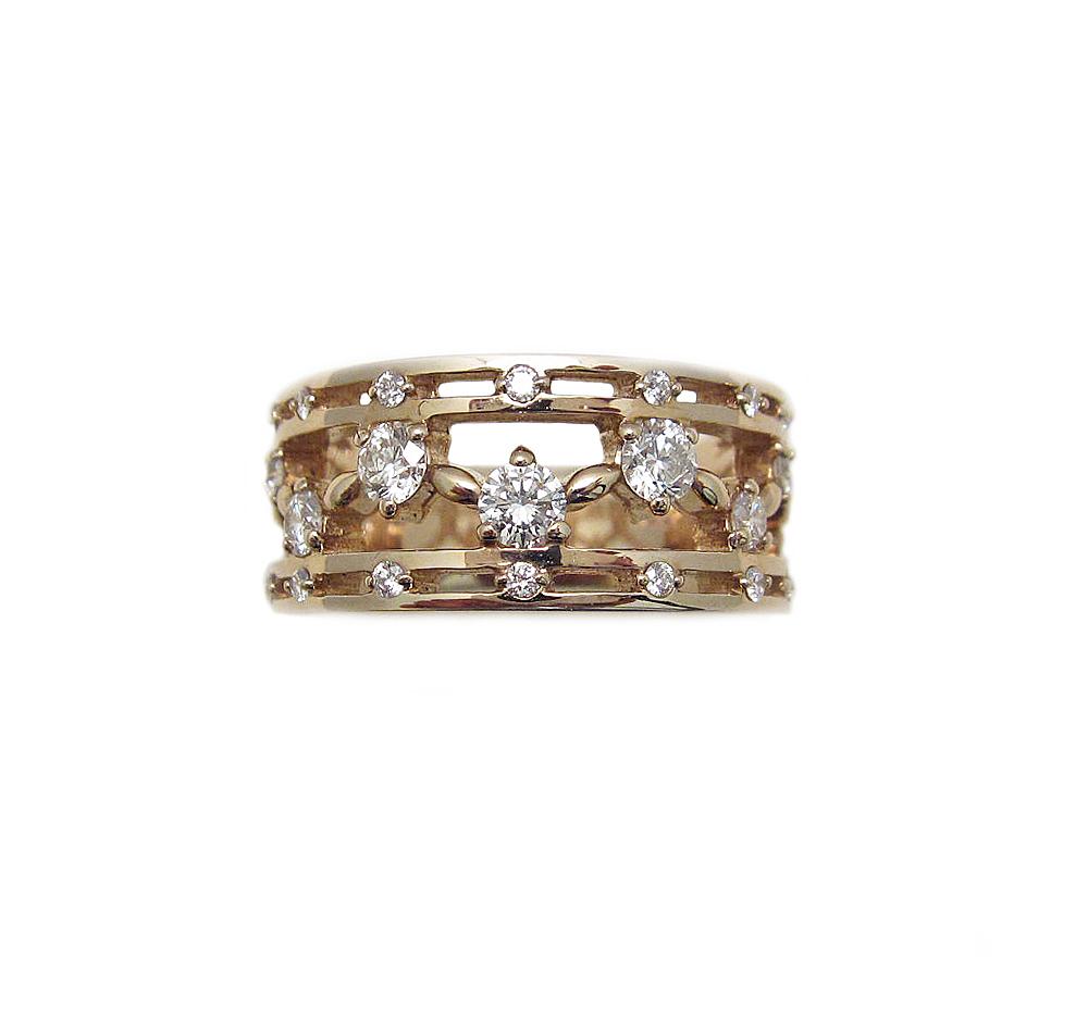 K18 ピンクゴールド ダイヤモンド デザイン リング