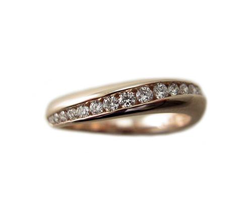 ピンクゴールド ダイヤモンド ファッション リング