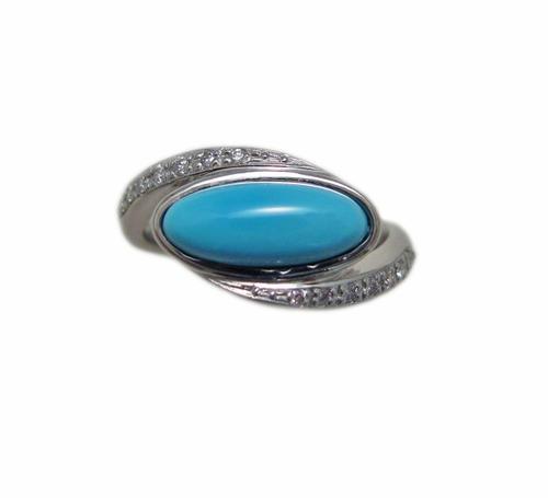 プラチナ ターコイズ ダイヤモンド リング