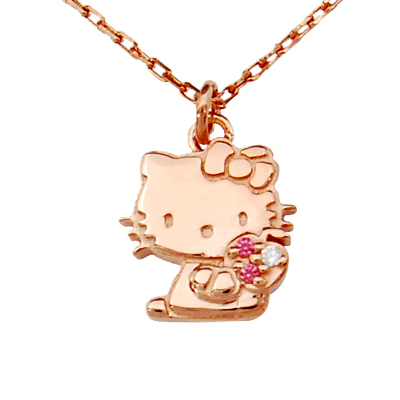 J plus rakuten global market kitty pink gold coated ladies kitty pink gold coated ladies necklace hello kitty pendant necklaces hello kitty toy accessories gift gift wrapping mozeypictures Image collections