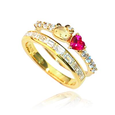 ハローキティ カクテル リング ハート バゲット 大人 かわいい 指輪 誕生日プレゼント プレゼント キティちゃん ギフト ラッピング おすすめ 女性 レディースジュエリー 母の日