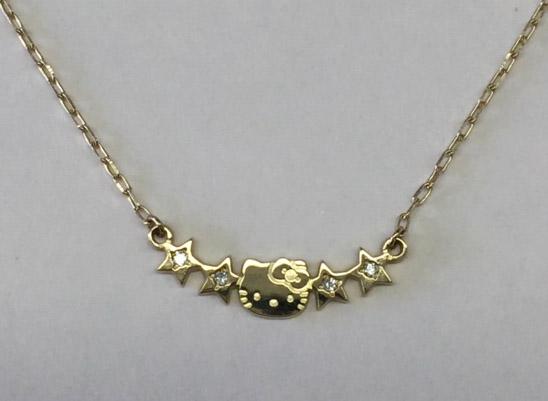 ハローキティ 10金 ネックレス ダイヤ 大人 レディース ジュエリー プレゼント ギフト 誕生日 在庫限 ゴールド 女性 彼女 サンリオ