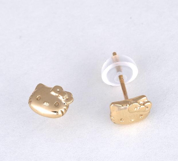 Hello kitty HELLO KITTY Shin pull pierced earrings hello kitty HELLO KITTY 18-karat gold hello kitty HELLO KITTY face pierced earrings Kitty accessories Christmas lapping fs3gm