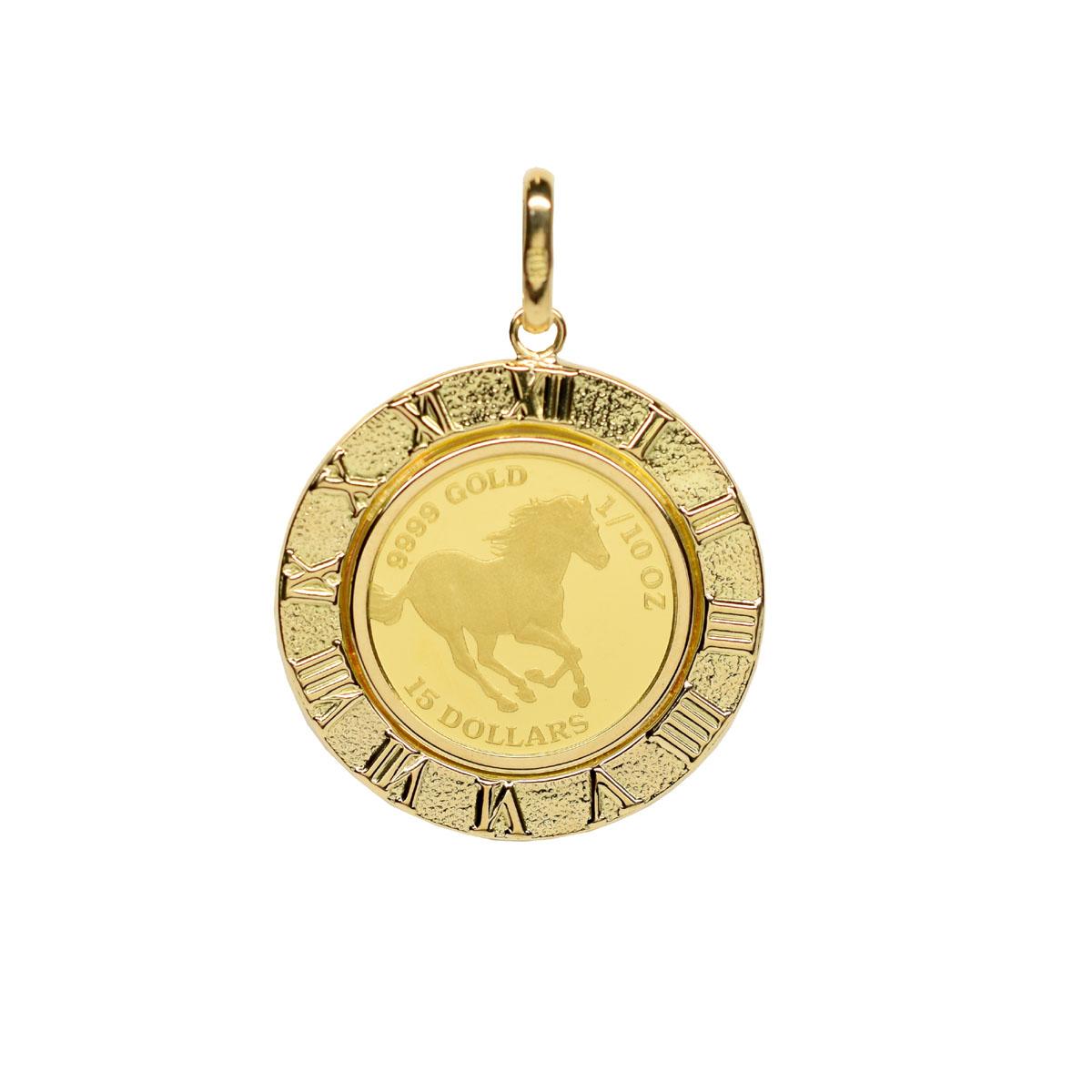 【送料無料】ツバル/ホースコイン金貨 K24(純金) 1/10オンス ホースコイン K18枠付きペンダントトップ