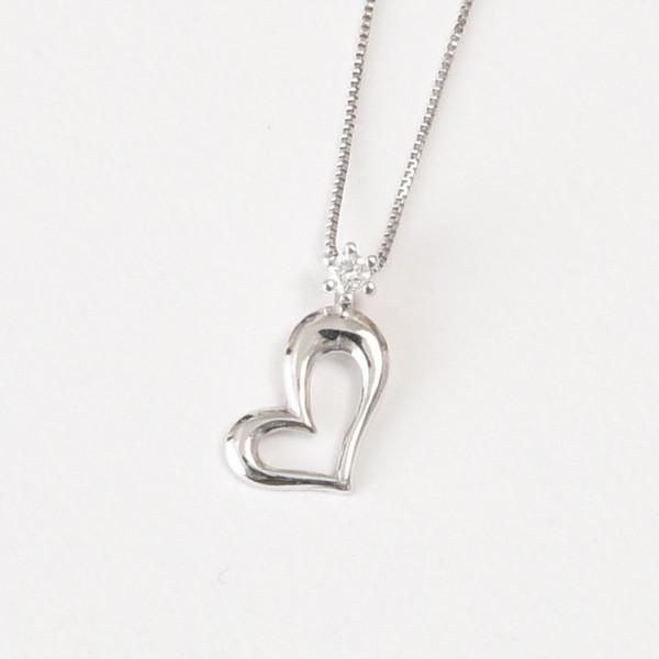 K18WG 0.03ctダイヤモンド ハートネックレス