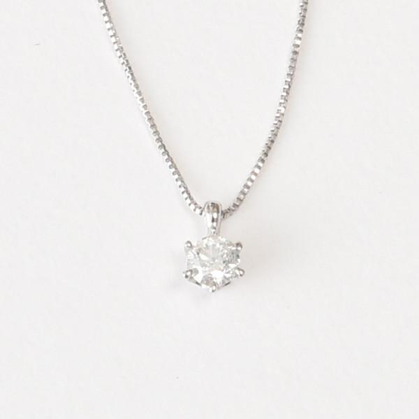 K18WG 0.15ct 一粒ダイヤ ダイヤモンドネックレス