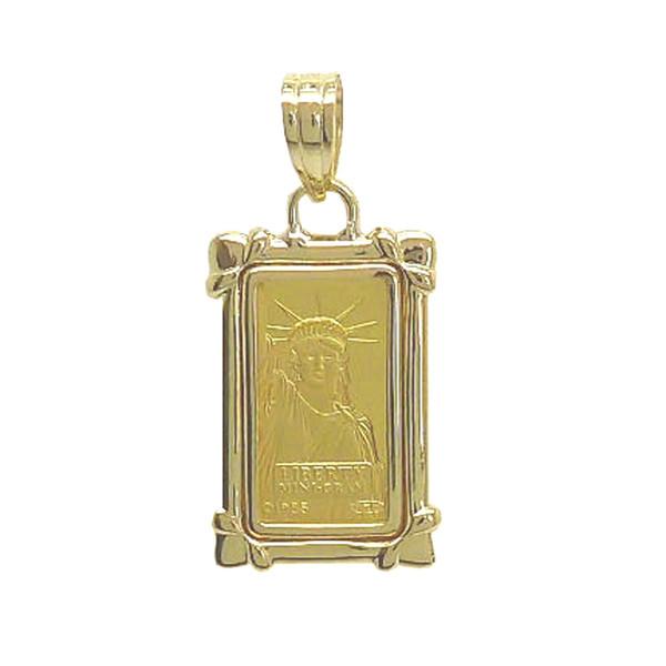 【送料無料】24金 インゴット INGOT リバティコイン K24(純金) 1g リバティコイン 自由の女神 K18枠付きペンダントトップ