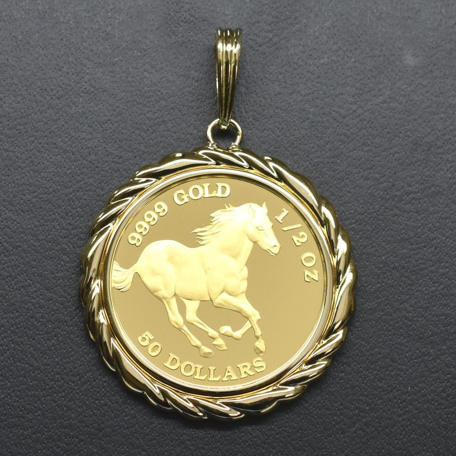 ツバル/ホースコイン金貨 K24(純金) 1/2オンス ホースコイン K18枠付きペンダントトップ