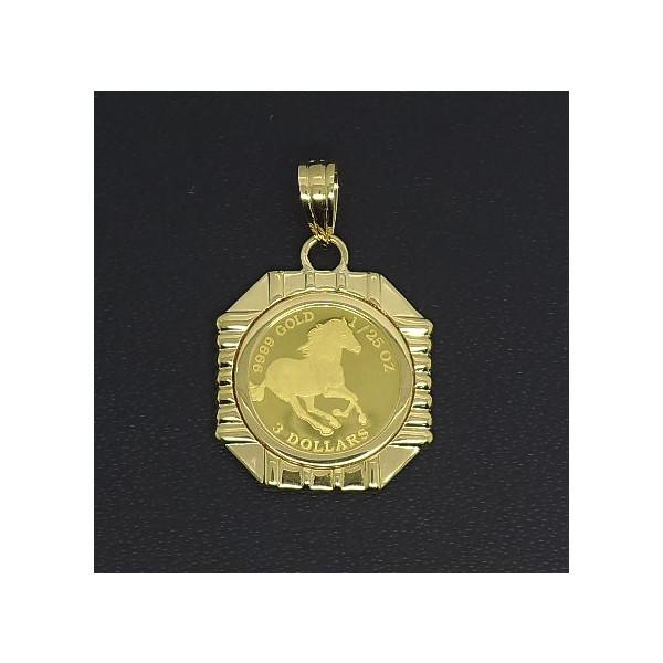 24金 ツバル ホースコイン 1 25オンス キャンペーンもお見逃しなく ホースコイン金貨 K18枠付きペンダントトップ K24 純金 品質保証