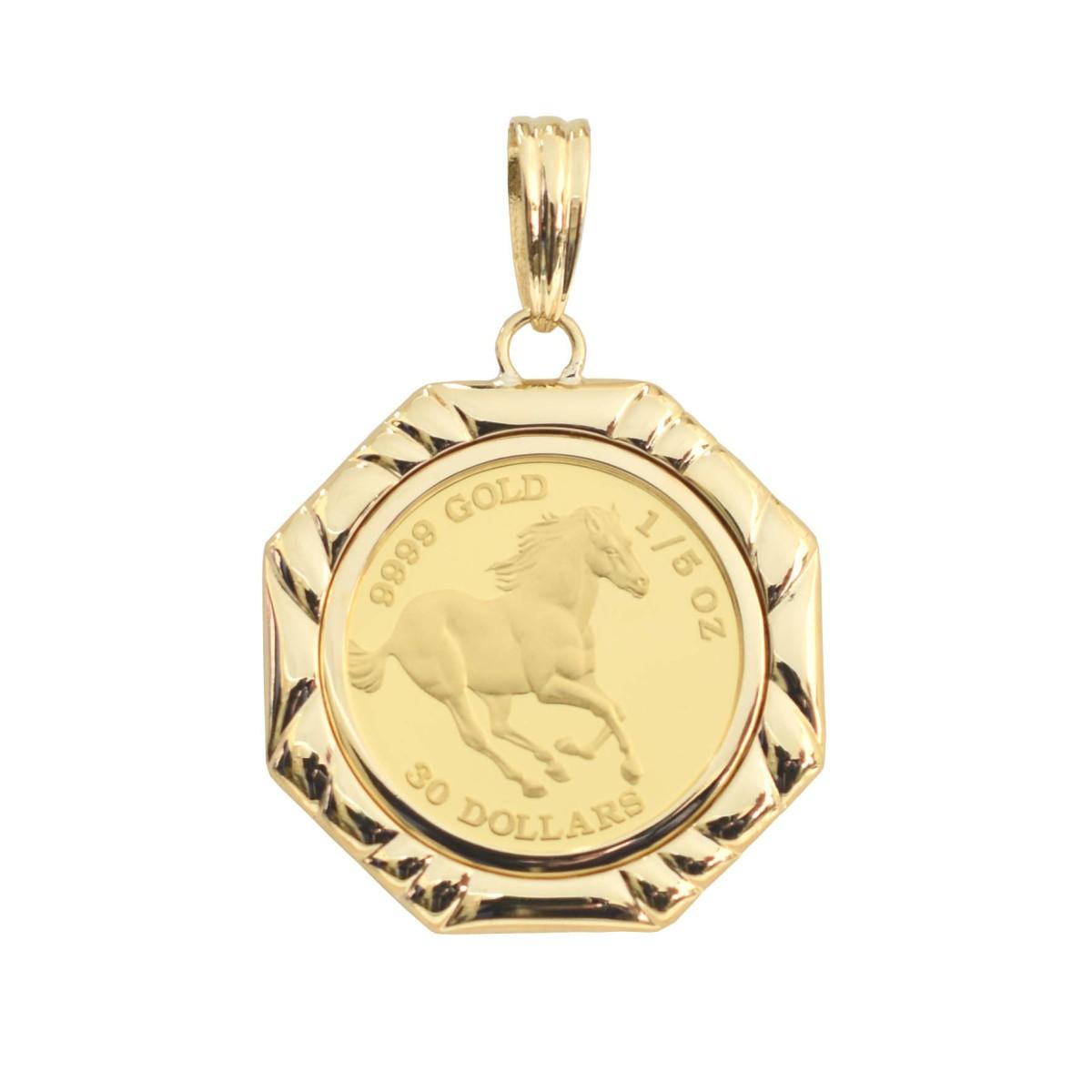 ツバル/ホースコイン金貨 K24(純金) 1/5オンス ホースコイン K18枠付きペンダントトップ