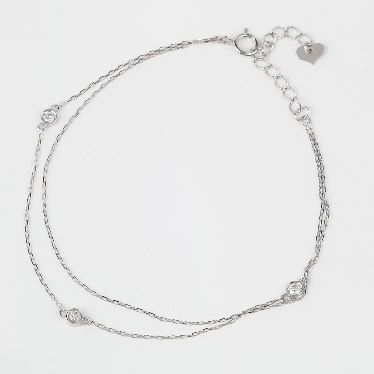 ブレスレット K10WG ダイヤ0.12ct 15cm+3cm 約0.97g