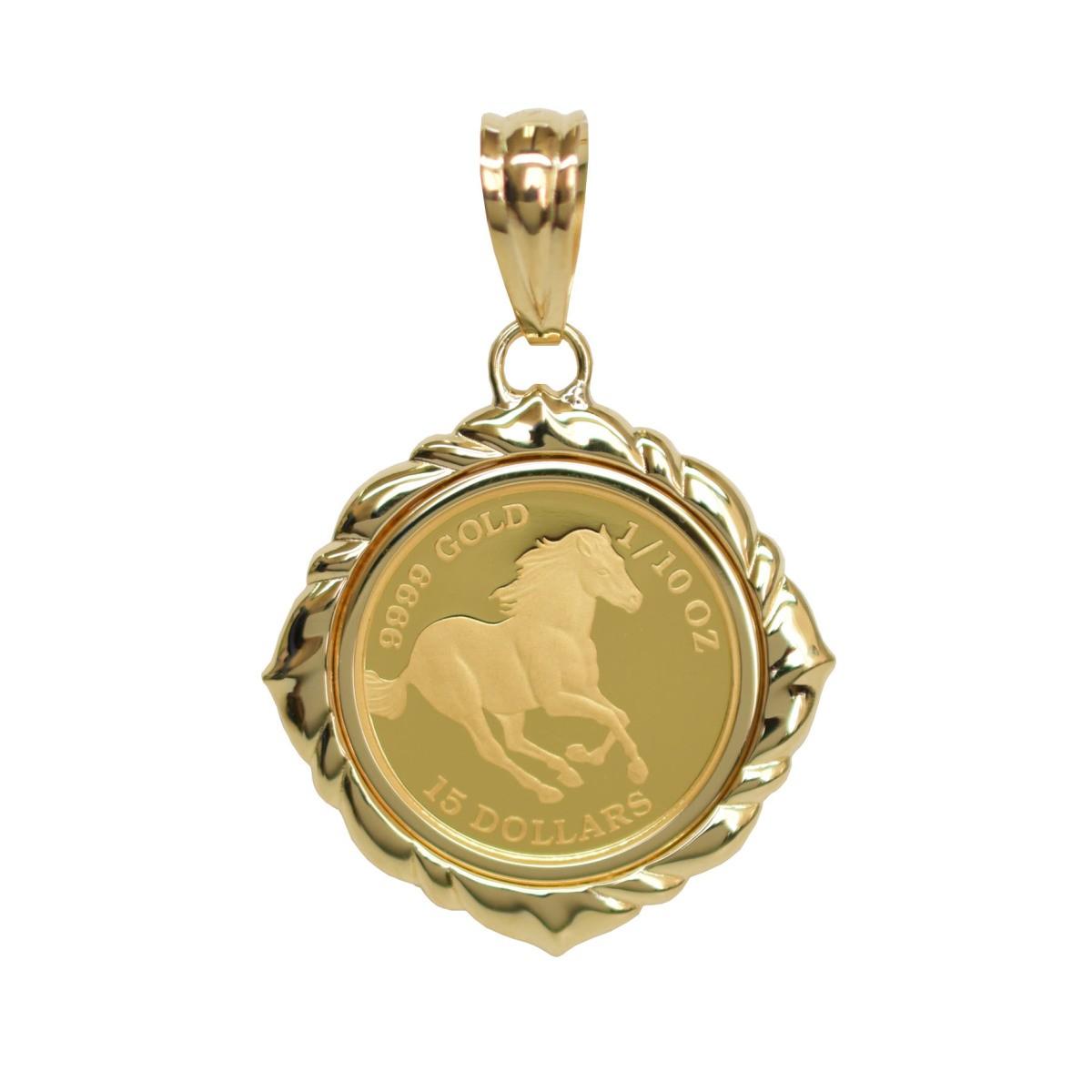 ツバル/ホースコイン金貨 K24(純金 K24) 1/10オンス ホースコイン K18枠付きペンダントトップ