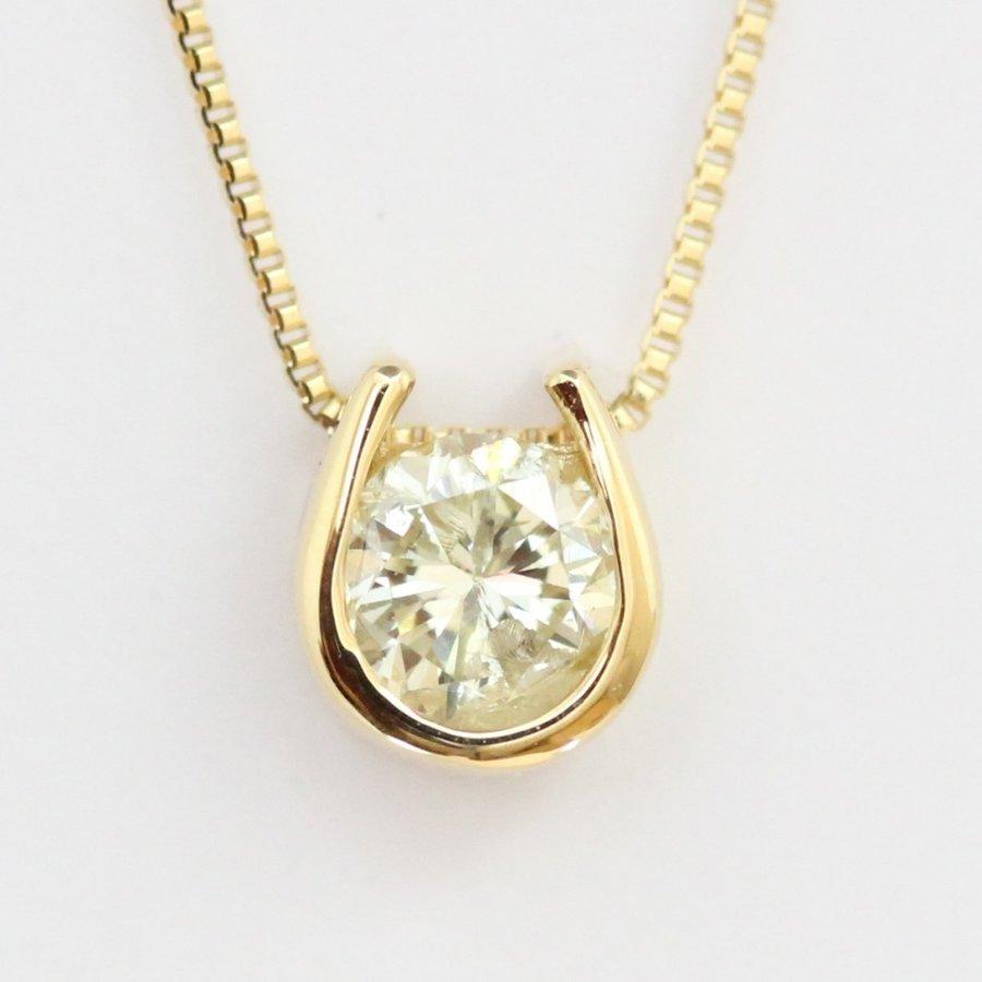 【45cmタイプ】K18 18金ダイヤモンドネックレス 0.2ct 天然ダイヤモンド1石 トップ裏は幸運を呼ぶクローバー!(45cmチェーンタイプ)