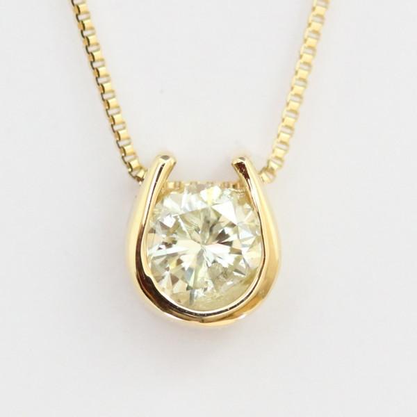 K18 クローバー モチーフ 日本産 ダイヤモンドネックレス トップも18Kチェーンも18K 天然ダイヤモンド1石 高価値 18k トップ裏は幸運を呼ぶクローバー 送料無料 ネックレス 計0.2ct