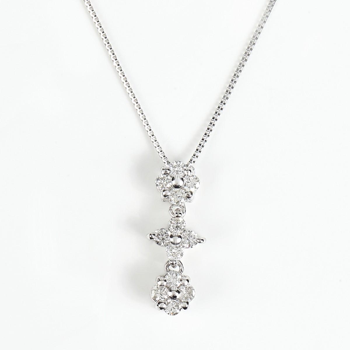 K18WG ダイヤモンドネックレス ダイヤ 0.2ct (K18WG 0.5mm 40cm ベネチアンチェーン)トップの通し方でハートにもなります。2Way