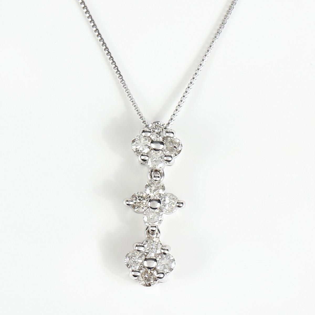 K18WG ダイヤモンドネックレス ダイヤ 0.35ct (K18WG 0.5mm 40cm ベネチアンチェーン)トップの通し方でハートにもなります。2Way【雑誌 GINGER掲載商品】