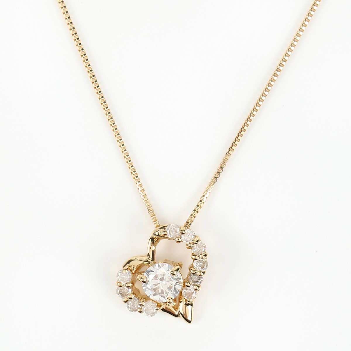 K18 ダイヤモンドネックレス ダイヤ 0.3ct (K18 0.5mm 40cm ベネチアンチェーン)