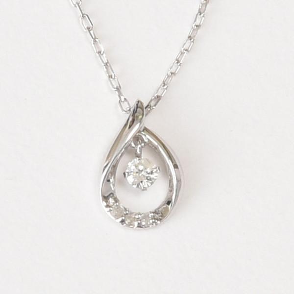 【なんと1万円以下】K10WG ダイヤモンドネックレス 天然ダイヤモンド4石 計0.07ct