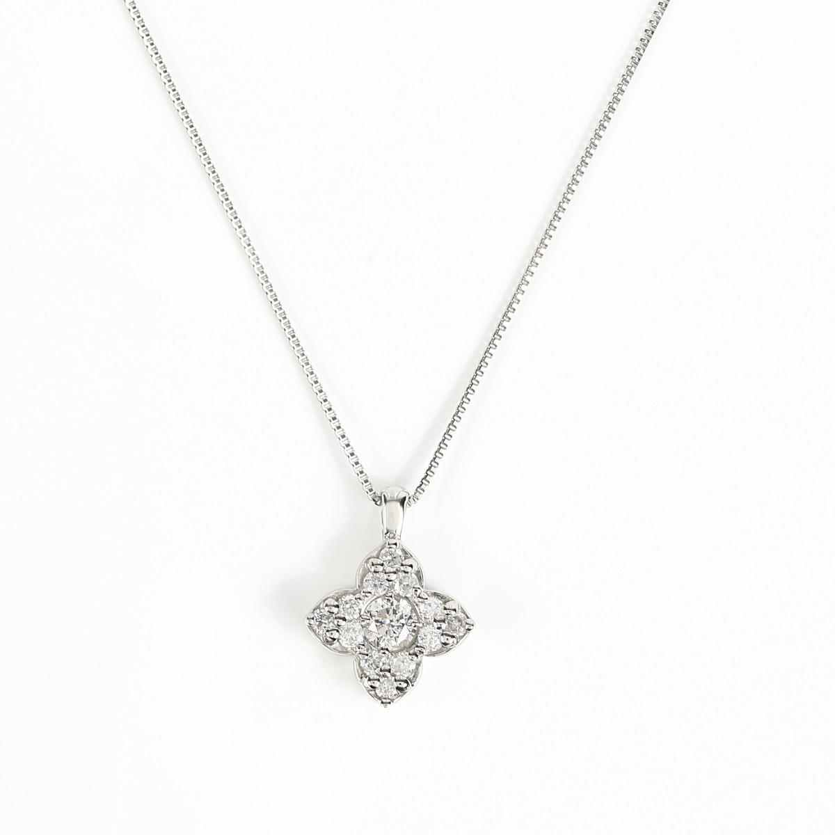 プラチナ Pt900 ダイヤモンドネックレス ダイヤ 0.22ct (Pt850 0.5mm 40cm ベネチアンチェーン)