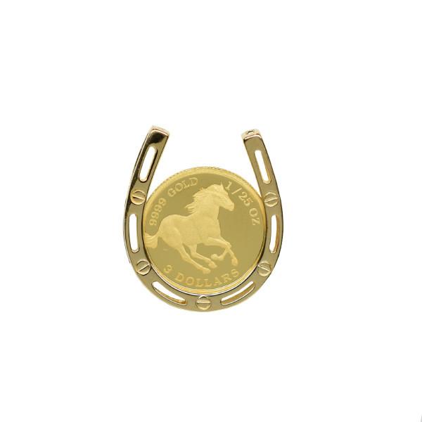 24金 ツバル バースデー 記念日 ギフト 贈物 お勧め 通販 ホースコイン 1 25オンス 通信販売 K24 ホースコイン金貨 純金 K18枠付きペンダントトップ