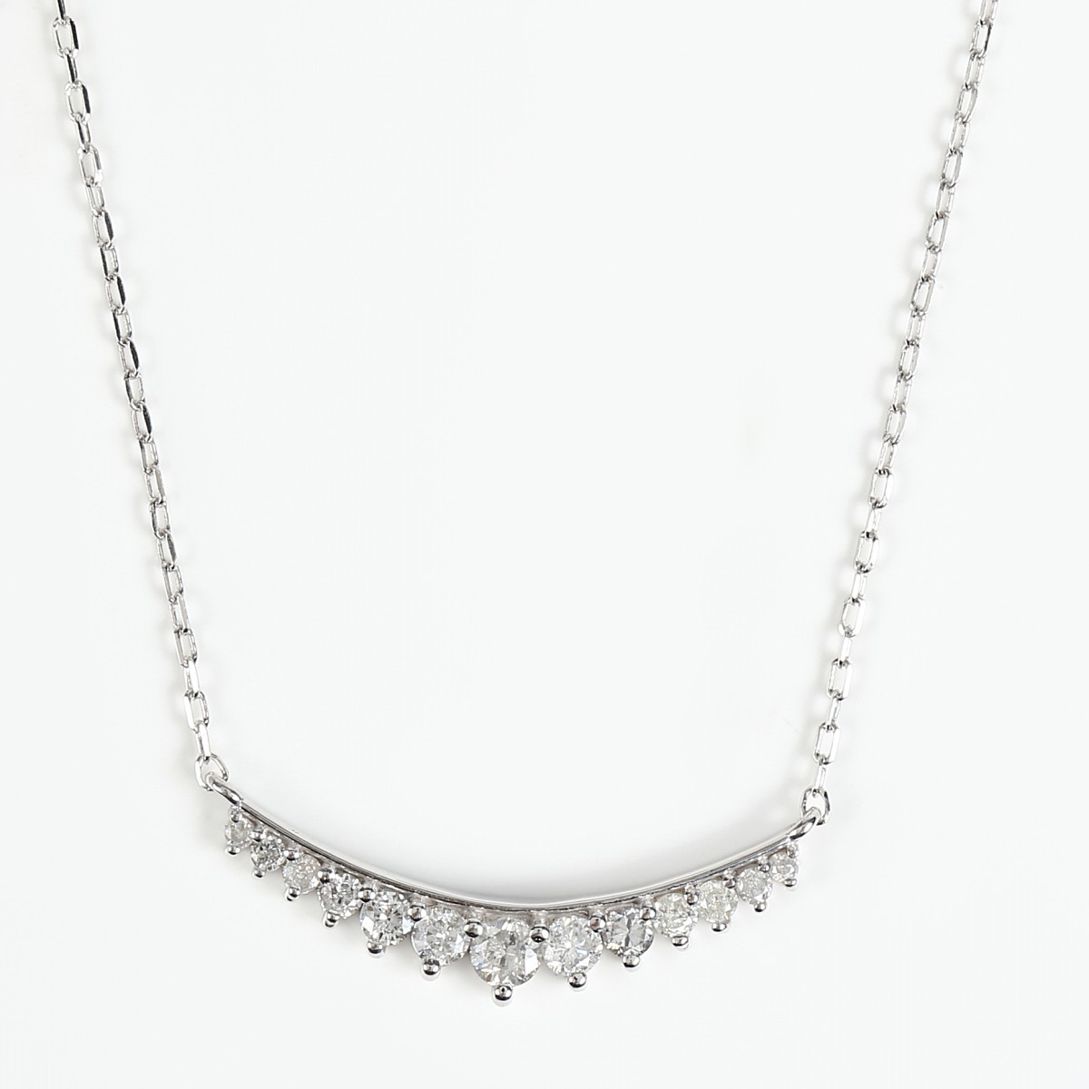 K18WG ダイヤモンドネックレス ダイヤ 0.22ct (K18WG アズキチェーン 40cm)